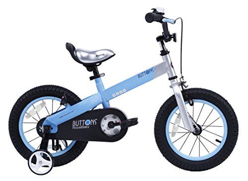 RoyalBaby Matte Buttons Kid's Bike, Boy's Bikes and Girl's Bikes with training wheels, Gifts for children, 12 inch wheels, Matte Blue