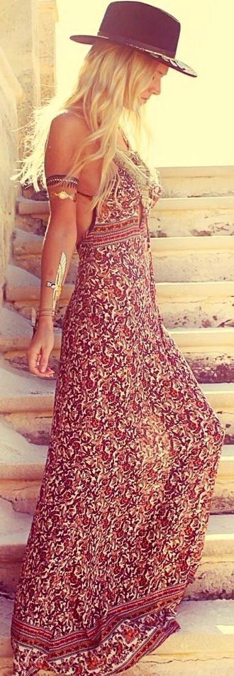 Walk On The Wild Side Festival Chick In Red Multicoloured Tribal Dress With Gold Accessories