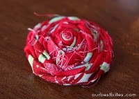 fabric rolled roses and glue  no sewing