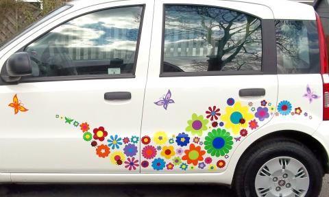 images  rainbow cars  pinterest volkswagen car stickers  hippie car