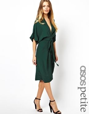 Image 1 of ASOS PETITE Obi Wrap Midi Dress