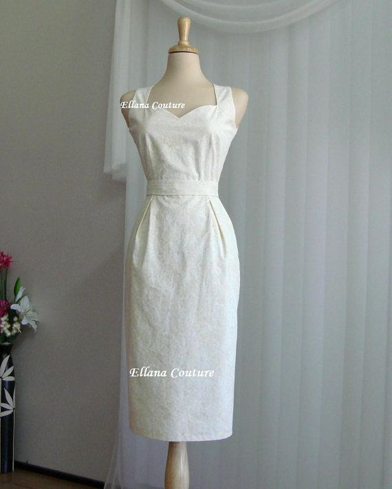 Pamela  Cotton Wedding Dress. Feminine Vintage by EllanaCouture, $285.00