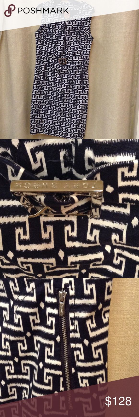 Dress Sleeveless navy and white dress with attached belt Tory Burch Dresses