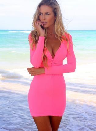 Neon Pink Long Sleeve V-Neck Bodycon Dress,  Dress, neonpink  bodycon  longsleeve  vneck  dress, Chic