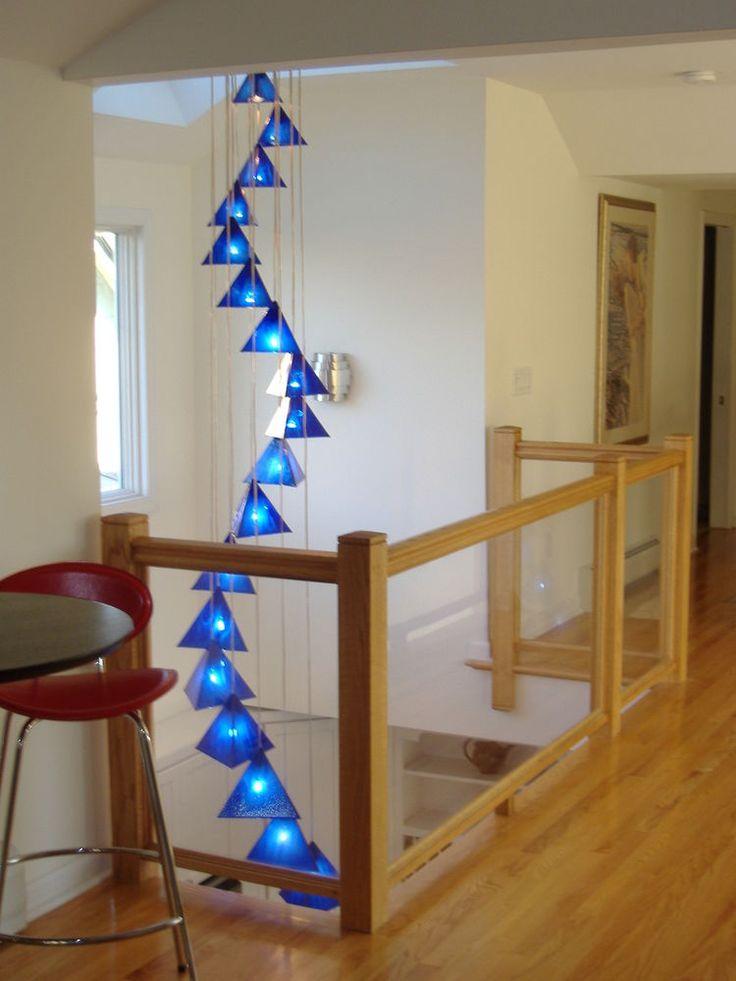 blown glass chandelier art glass lighting custom chandelier cobalt blue - Blown Glass Chandelier