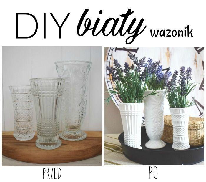...Dalwi... blog o szyciu i nie tylko: DIY - Metamorfoza starego wazonu malowanie szkła, jak pomalować wazon, DIY White Faux Ceramic, Milk Glass Vases, Learn how to create shabby distressed painted candlesticks using thrift store glass bud vases.