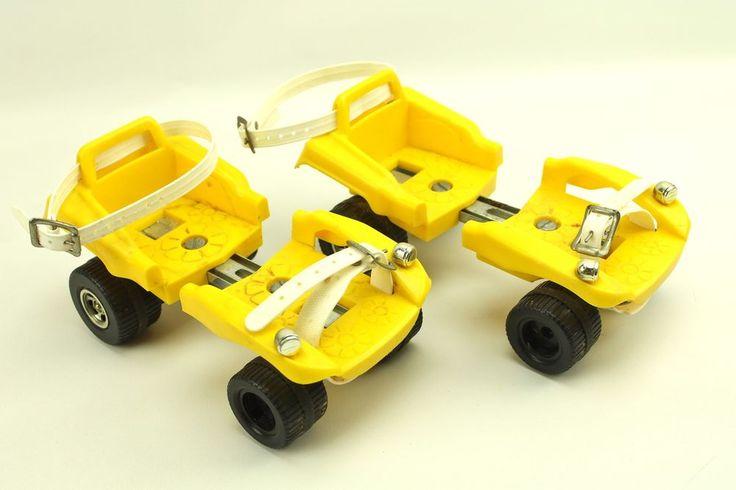 Vintage Yellow Daisy Plastic Adjustable Kids Roller Skates #weboys10