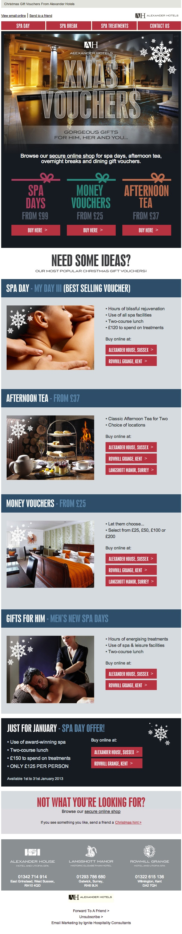 Christmas newsletter for Alexander Hotels 2012.    We've worked very closely with the client to get the brand to this point - very happy the balance between quality and impact.
