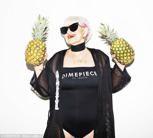 Feeling fruity: Baddie Winkle appears in a new ad campaign for LA-based clothing label Dim...
