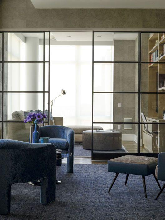 | P | Weitzman Halpern Living room / interior design / Glass window partiton / Neutralwww.weitzmanhalpern.com