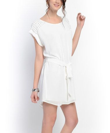This Off-White Stud Boatneck Dress by Naked Zebra is perfect! #zulilyfinds