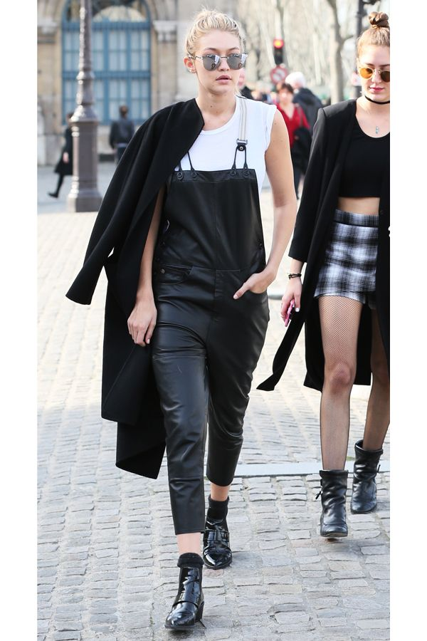 Gigi Hadid Wears Overalls In Paris #refinery29  http://www.refinery29.com/2015/03/83533/gigi-hadid-leather-overalls-outfit#slide-1  Gigi Hadid was photographed heading into the Louvre wearing leather G-Star overalls, Whistles boots, and a coat draped over her shoulders because her outfit's just too flawless to cover up.