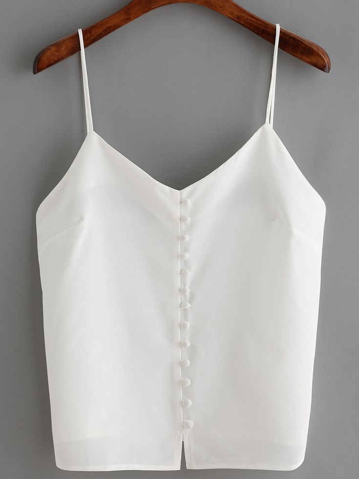 Shop White Spaghetti Strap Buttons Cami Top online. SheIn offers White Spaghetti Strap Buttons Cami Top & more to fit your fashionable needs.