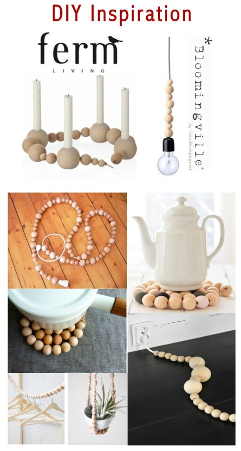 DIY with Wooden Beads (seen at Ferm Living and Bloomingville) -- French Trivet tutorial on http://www.carnetsparisiens.com/2012/09/23/dessous-de-table-en-perles-de-bois/