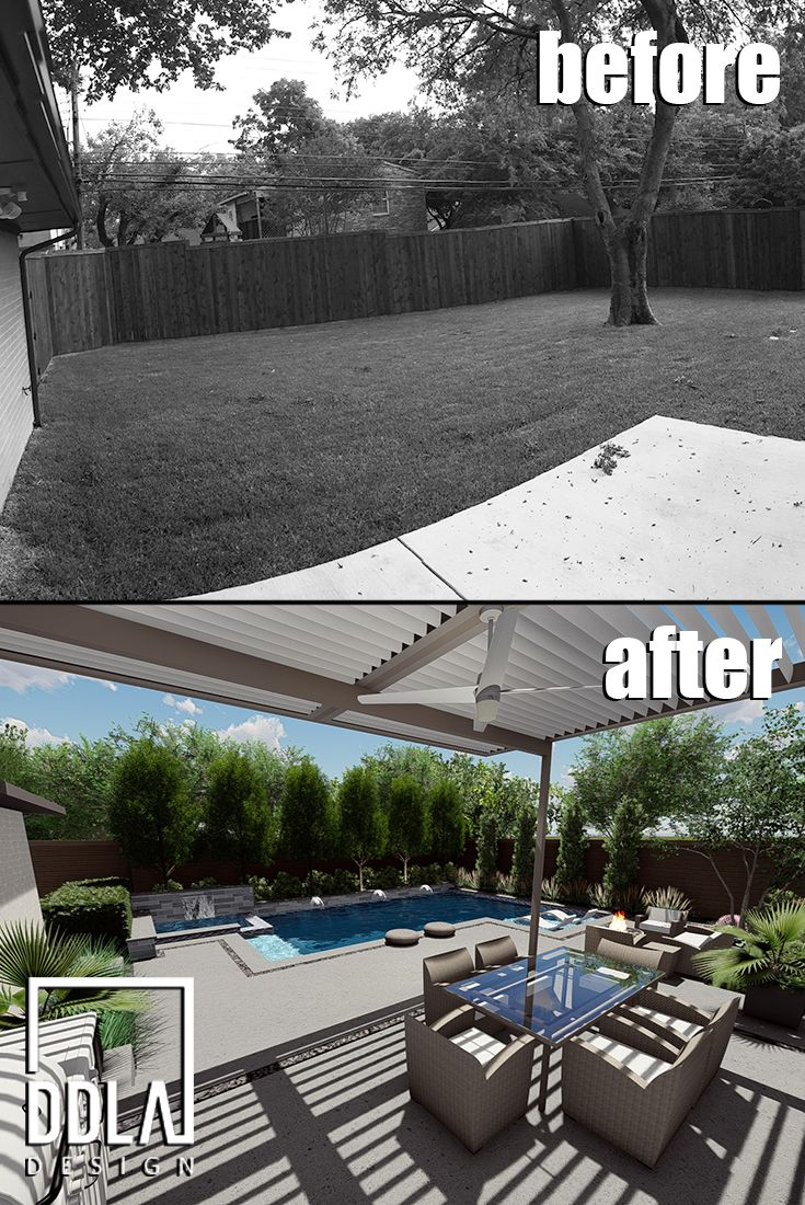 before and after - another backyard design by ddla design that took this lakewood home and turned a simple, empty lawn into a year-round outdoor living area for family and friends. the space features a new luxury swimming pool and spa, new terraces and seating areas, an overhead shade structure, modern outdoor fire pit and specimen trees and landscaping to wrap the yard in privacy. ddla design landscape architecture