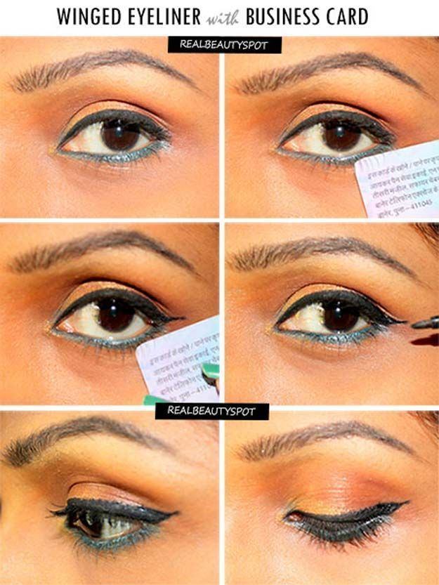 Winged Eyeliner Tutorials - Winged Eyeliner With Business card- Easy Step By Step Tutorials For Beginners and Hacks Using Tape and a Spoon, Liquid Liner, Thing Pencil Tricks and Awesome Guides for Hooded Eyes - Short Video Tutorial for Perfect Simple Dramatic Looks - thegoddess.com/winged-eyeliner-tutorials #wingedlinerforhoodedeyes #wingedlinereasy