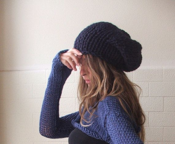 Blue Hat / Navy Nightsky deep Blue chunky hand knit hat by ileaiye, $25.00