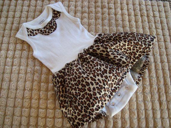 Girls Newborn Onesies Leopard Skirt LAST ONE by 3piccadillies, $22.95