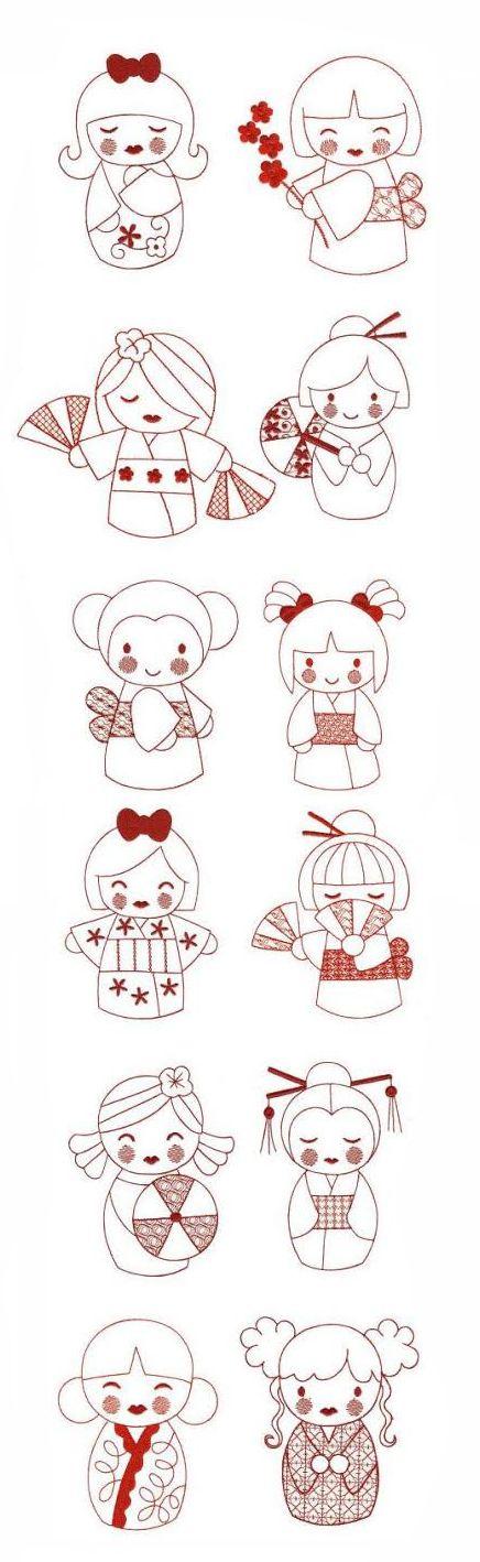 Kokeshi Dolls Redwork design set is available for instant download atdesignsbyjuju.com