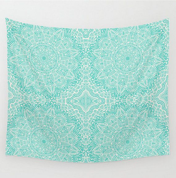 Wall Tapestry Mandala Pattern Teal Design Aquamarine Turquoise Mint Green Blue Boho Bohemian Shabby Chic Dorm Room Home Decor