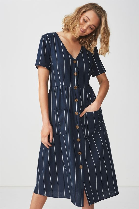 best value famous brand factory price Woven Camila Button Through Midi Dress | Dresses, Short sleeve ...