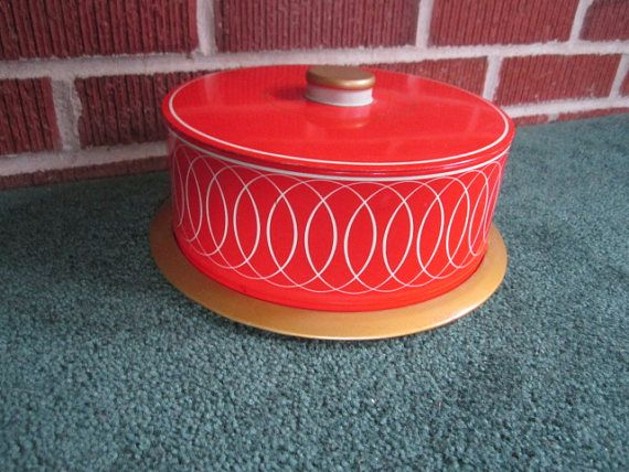 Vintage Retro Red Tin Small Cake Saver with Red Modernist