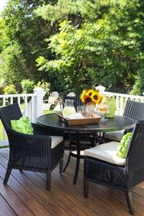 Outdoor dining area to relax and enjoy Cottage Transitional Patio Porch by Liza Jane Interiors