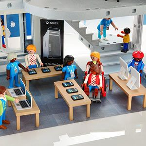 "PLAYMOBIL(TM) Apple Store Playset. I particularly love the ""optional line pack available."" (if only this hadn't been posted on 4/1...)"