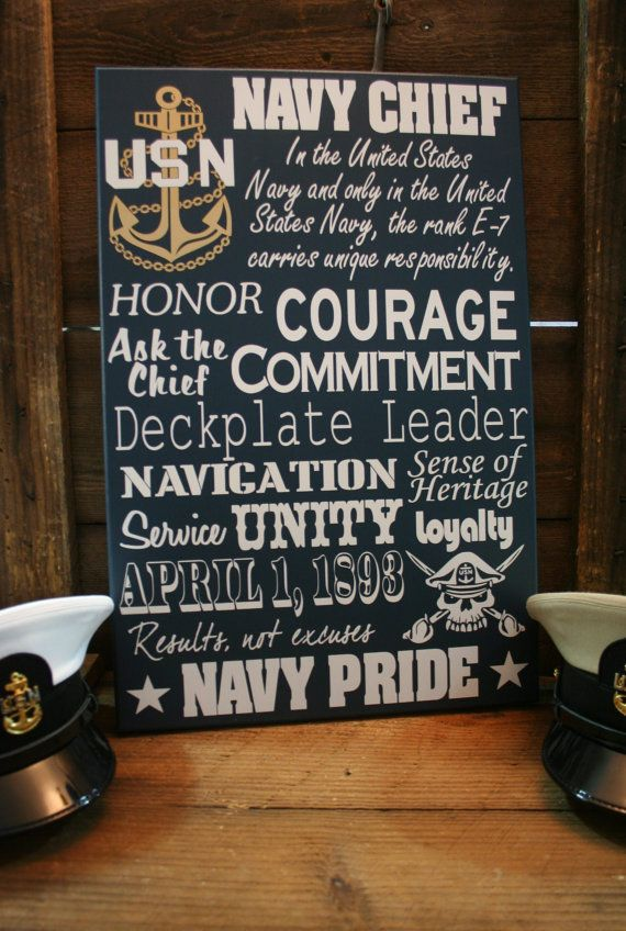Navy Chief CPO Collage Subway wall Sign by KRCustomWoodcrafts, $95.00