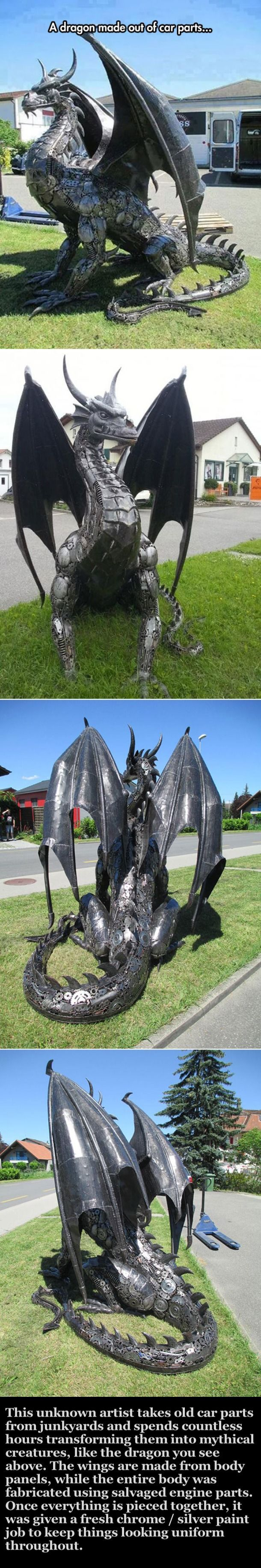 Artist Turns Old Car Parts It Into A Mythical Dragon Pictures, Photos, and Images for Facebook, Tumblr, Pinterest, and Twitter