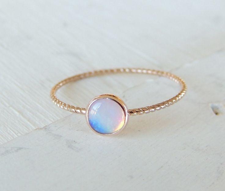 Opal Ring, Opal Gold Ring, Glowing Opal Ring, 14k Gold Ring, Nautical Ring, Stacking Ring, Rose Gold Ring, Christmas Gift, Engagement Ring  #ring #Weddingwednesday #Shopifypicks #Leducalberta #edmonton #stackingring #Roségold #trendy #engagementring #londonbluetopaz