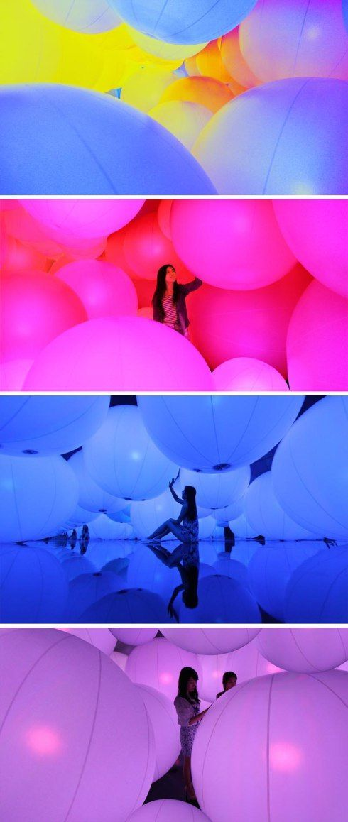 teamLAB, Interactive Installation, Large balls that change color and sound with touch. Contemporary Art at Hong Kong Arts Centre. A Journey ...: