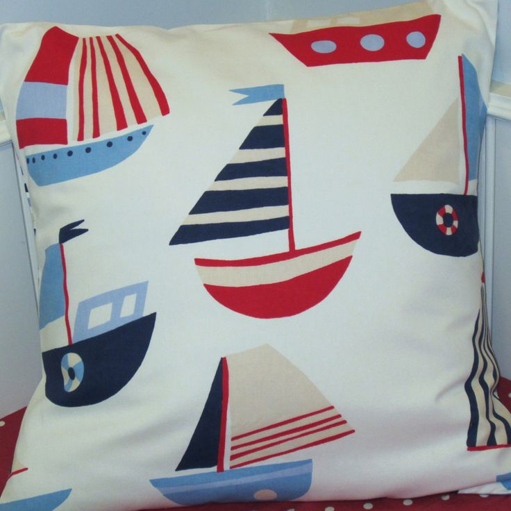 24 Inch Pillow Cover, Kids Nautical Cushion Cover, Decorative Pillow Cover, Sailing Boats White Blue Red, Striped Back by AllTheTrimmingsUK on Etsy https://www.etsy.com/listing/116114931/24-inch-pillow-cover-kids-nautical