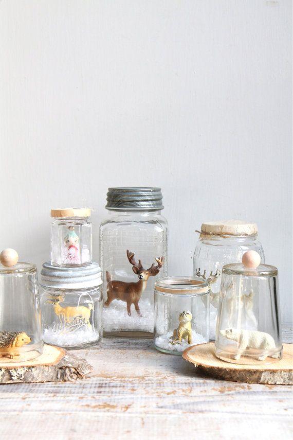 Vintage Handmade Glass Snow Globe / Deer Reindeer by ethanollie