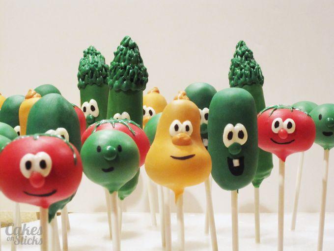 Veggie Tales-themed cake pops