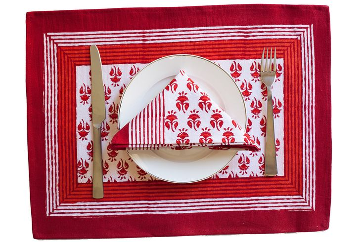 Orange & Red Table Mat & Napkin Set | The Hues of India