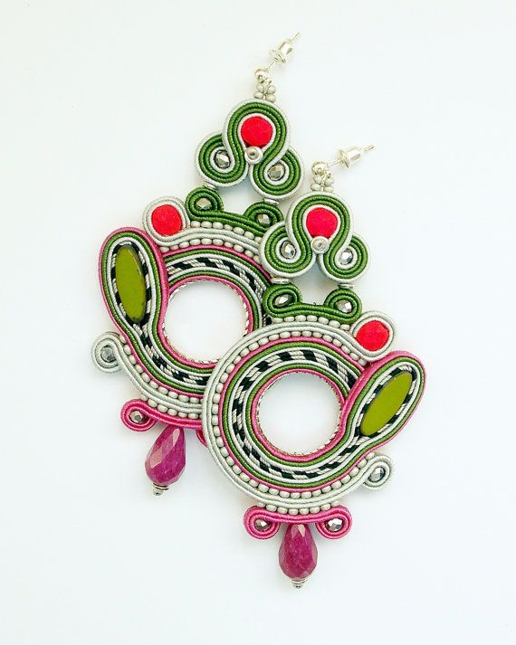 Soutache dangle earrings. Bohemian colorful by Soutachebypanka