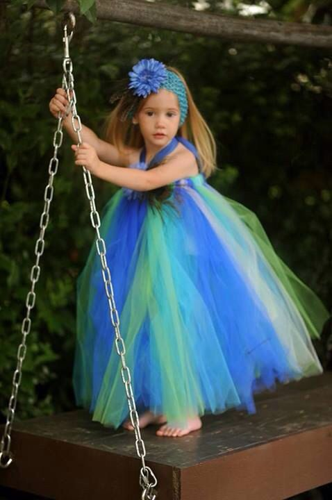Royal Couture Peacock Flower Girl Tutu Dress by whererainbowsend1, $50.00