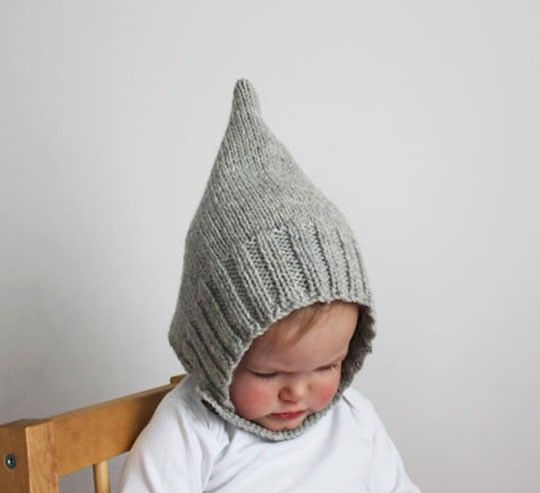 Direct Download PDF Knitting Pattern - Simple Ribbed Pixie Bonnet Pattern -
