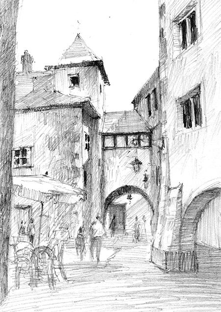 Pencil dwg old city nice urban sketches