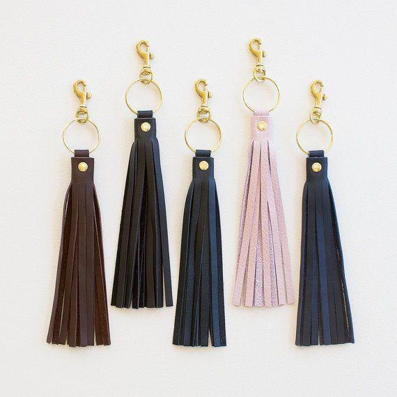 Leather Tassel Keychain, Tassel Keychain Purse Charm, Tassel Key Fob