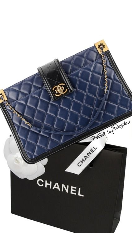 Chanel ~ Leather Quilted Bag. Navy SS 2015