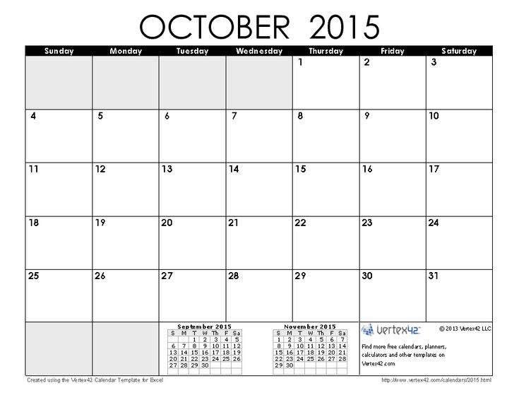 October 2015 Calendar | Save The Date | Pinterest | Free ...