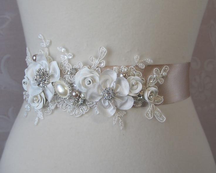 Champagne and Ivory Sash, Bridal Sash, Wedding Belt, Rhinestone and Pearl Flower Sash with Lace - GEORGETTE. $158.00, via Etsy.---teal colored sash