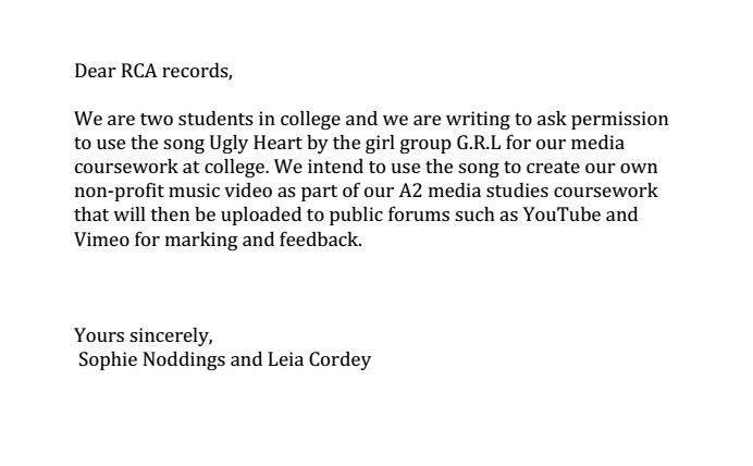 We Have Wrote A Letter To RCA Records Ask Permission Use GRLs Song Ugly Heart As The For Our Music Video