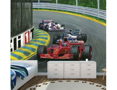 """The Formula 1 Room! Here is our mural """"Grand Prix"""". A Wallpaper Mural by Muralunique.com. Original painting from Tony Floreani."""