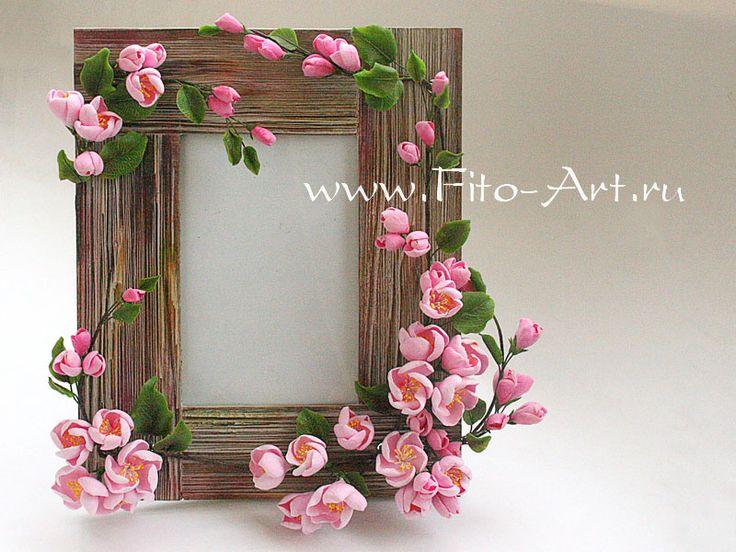 Marco de fotos con flores de color rosa de manzana - Fito Arte: Decoración