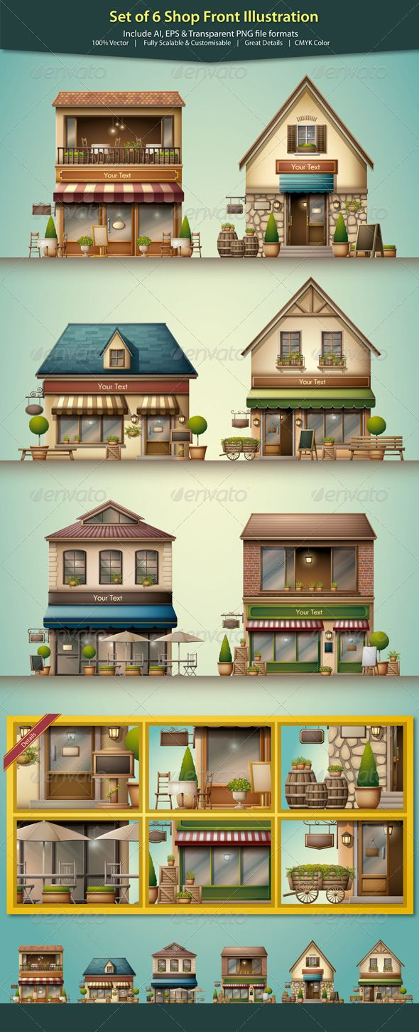 Shop Front Illustration - Buildings Objects