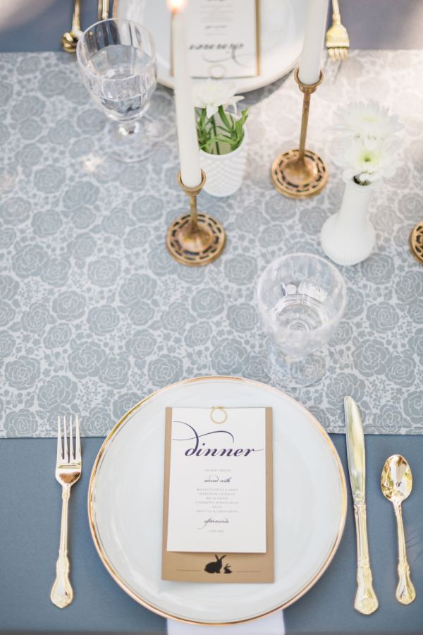White, slate blue and gold flatware baby shower table decor…