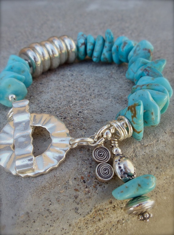 Handcrafted Nacazori Turquoise and Sterling by hogwildjewelry, $60.00